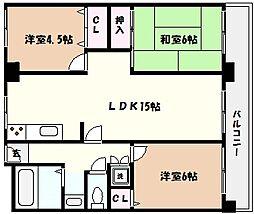 兵庫県神戸市東灘区深江北町1丁目の賃貸マンションの間取り