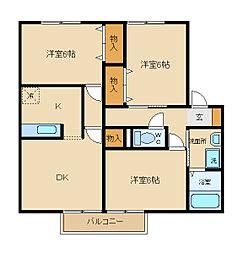 兵庫県姫路市別所町別所2丁目の賃貸アパートの間取り