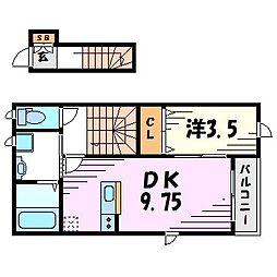 兵庫県西宮市若草町2丁目の賃貸アパートの間取り