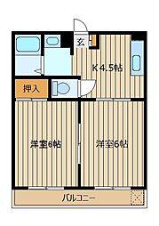 埼玉県富士見市西みずほ台3丁目の賃貸マンションの間取り