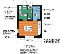 富士見ハイム 2階1Kの間取り
