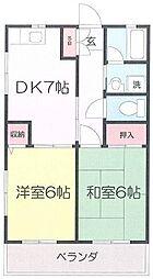 JR南武線 矢向駅 徒歩15分の賃貸アパート 2階2DKの間取り