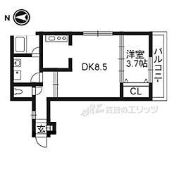 グラン・ジュテ烏田 2階1DKの間取り