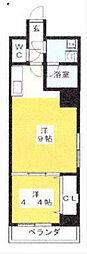 ウイング赤坂 9階1LDKの間取り