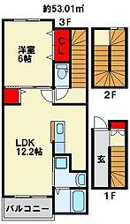 福岡県北九州市小倉南区葛原東3丁目の賃貸アパートの間取り