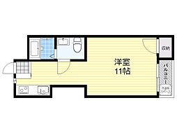 エバーグリーン新大阪 4階ワンルームの間取り