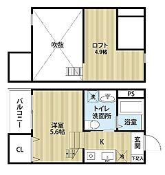 愛知県名古屋市港区七番町4丁目の賃貸アパートの間取り