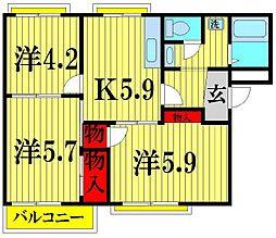 埼玉県越谷市東越谷10の賃貸アパートの間取り