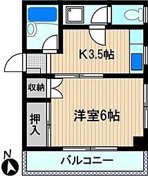 喜美代コーポ塚越[2階]の間取り