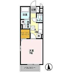 神奈川県平塚市北金目の賃貸アパートの間取り