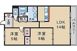 大阪府豊中市小曽根3丁目の賃貸マンションの間取り