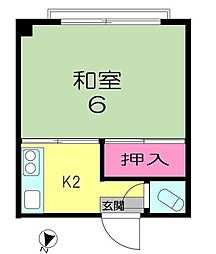 東京都中野区中野1丁目の賃貸マンションの間取り