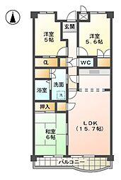 愛知県清須市西枇杷島町泉の賃貸マンションの間取り