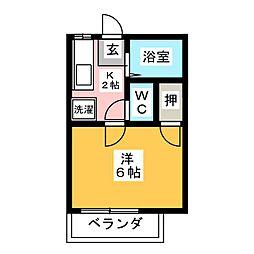 フローレンス富岡 A 1階1Kの間取り