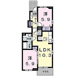 徳島県徳島市北田宮3丁目の賃貸アパートの間取り