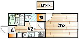 福岡県北九州市小倉北区井堀4丁目の賃貸アパートの間取り