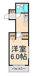 カーサTAKEDA[203号室]の間取り