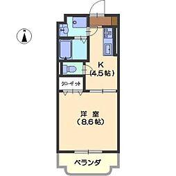 愛知県名古屋市西区城西町の賃貸マンションの間取り