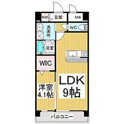 サミット栗田中央 5階1LDKの間取り