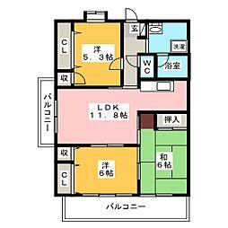 アンセスタ筑紫野[1階]の間取り