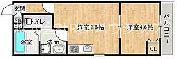 JR牟岐線 阿波富田駅 徒歩10分の賃貸マンション 3階1LDKの間取り