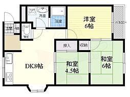 大阪モノレール本線 山田駅 徒歩5分の賃貸マンション 2階3DKの間取り