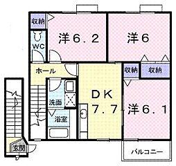 香川県綾歌郡宇多津町浜七番丁の賃貸アパートの間取り