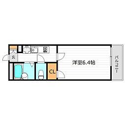 Osaka Metro谷町線 千林大宮駅 徒歩16分の賃貸マンション 3階1Kの間取り