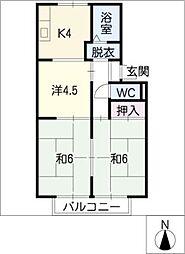 メゾンルミエールC棟[2階]の間取り
