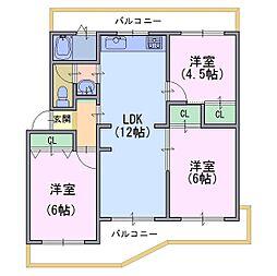 南円明寺ヶ丘団地12棟[1階]の間取り