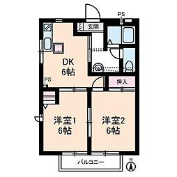 カーザ日限山[1階]の間取り