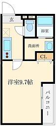 フジパレス東淀川II番館 2階1Kの間取り