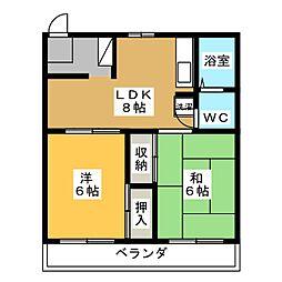 コーポ静岡[5階]の間取り