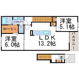 兵庫県尼崎市田能5丁目の賃貸アパートの間取り
