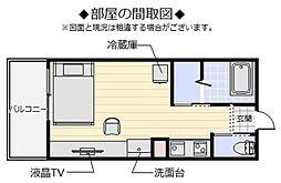 Makishi II 2階ワンルームの間取り
