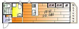 江坂テネラ 2階ワンルームの間取り