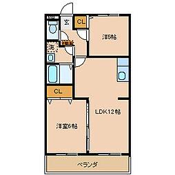 グレースマンションフジ[2階]の間取り