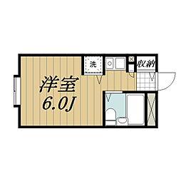 JR成田線 成田駅 徒歩23分の賃貸マンション 5階ワンルームの間取り