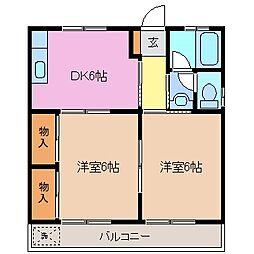 三重県鈴鹿市南若松町の賃貸アパートの間取り