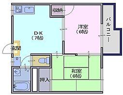 乙木ハイツA 2階2DKの間取り