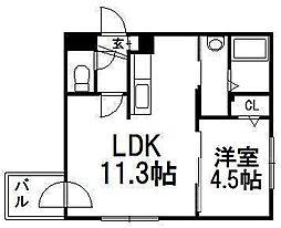 北海道札幌市西区発寒二条5の賃貸マンションの間取り