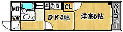 JR山陽本線 明石駅 バス15分 吉田下車 徒歩5分の賃貸マンション 2階1DKの間取り