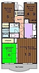 リバーサイドヒルズ[2階]の間取り