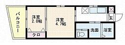 福岡県福岡市中央区地行2の賃貸マンションの間取り