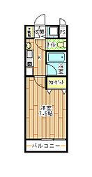 北九州都市モノレール小倉線 香春口三萩野駅 徒歩6分の賃貸アパート 2階1Kの間取り