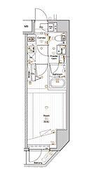 都営大江戸線 森下駅 徒歩3分の賃貸マンション 2階1Kの間取り
