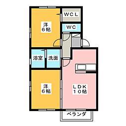 愛知県稲沢市西町2丁目の賃貸アパートの間取り