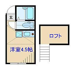 神奈川県川崎市中原区井田2丁目の賃貸アパートの間取り