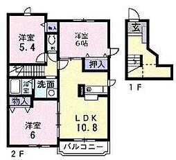 千葉県船橋市旭町2丁目の賃貸アパートの間取り