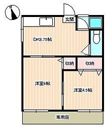 山口県下関市綾羅木本町9丁目の賃貸アパートの間取り